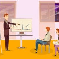 Business training composition with teacher near whiteboards and participants on chairs on background of windows vector illustration
